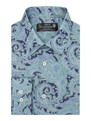 New And Lingwood Milfoil Print Tailored Fit Long Sleeve Shirt Navy