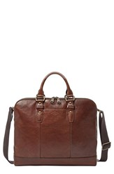 Men's Fossil 'Dillon' Leather Briefcase Brown