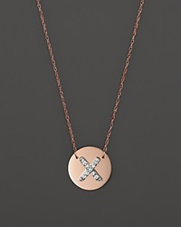 Jane Basch 14K Rose Gold Circle Disc Pendant Necklace With Diamond Initial 16 X