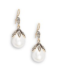 Azaara Vintage By 14Mm Pear Majorca Pearl Swarovski Crystal Silver And Copper Antique Drop Earrings Antique Gold