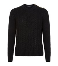 Balmain Chunky Cable Knit Sweater Male Black