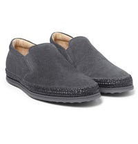 Tod's Raffia Trimmed Suede Slip On Sneakers Charcoal