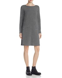 Eileen Fisher Boat Neck Knit Shift Dress Ash