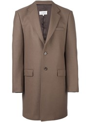 Maison Martin Margiela Single Breasted Buttoned Coat Brown