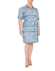 Context Plus Tribal Shirtdress Blue