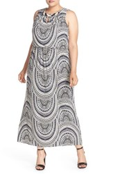 London Times Plus Size Women's Embellished Print Blouson Maxi Dress Grey Multi