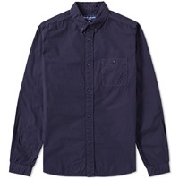 White Mountaineering Overdyed Oxford Shirt Blue