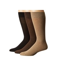 Cole Haan 3 Pair Solid Flat Knit Crew Camel Heather Chestnut Heather Black Men's Crew Cut Socks Shoes Multi