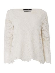 Oui Long Sleeve Lace Top White