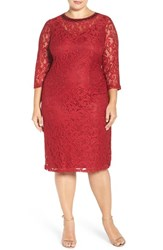 London Times Plus Size Women's Beaded Lace Midi Dress