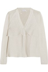 Brunello Cucinelli Sequined Linen And Silk Blend Cardigan White