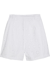 Miguelina Janette Broderie Anglaise Cotton Shorts White