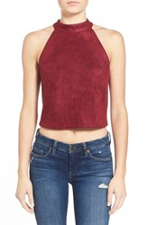 Women's J.O.A. Back Tie Faux Suede Halter Crop Top