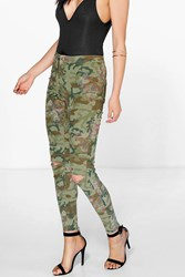 Boohoo Camo Floral High Rise Slit Knee Jeans Camo
