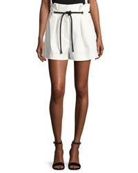 3.1 Phillip Lim Pleated Paperbag Waist High Rise Shorts Antique White