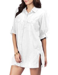 Lauren Ralph Lauren Crushed Cotton Cover Up Camp Shirt White