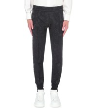 Alexander Mcqueen Tapered Floral Jacquard Trousers Black