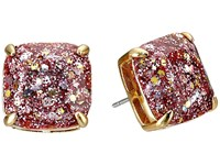 Kate Spade Small Square Studs Rose Gold Glitter Earring Red