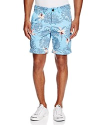 Superdry International Palm Orchid Print Chino Shorts Palm Orchid Sky Blue