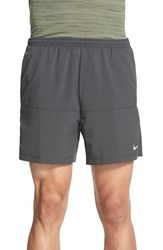 Nike Men's 'Distance' Dri Fit Running Shorts Anthracite Anthracite Silver