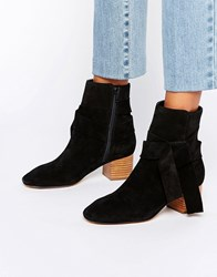 Asos Renzel Suede Bow Ankle Boots Black Suede