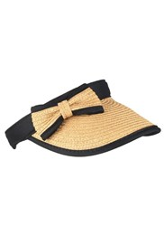 Dents Ladies Paperstraw Visor With Bow Detail Natural