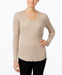 Calvin Klein Ribbed V Neck Sweater Heather Latte