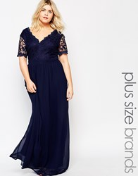 Club L Plus Maxi Dress With Scallop Lace Top Navy