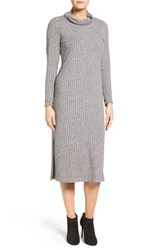 Bobeau Women's Ribbed Side Slit Sweater Dress Grey
