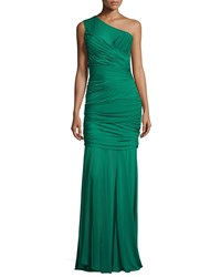 Halston One Shoulder Bandage Gown Emerald Green