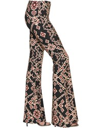 Black Coral Printed Jersey Flared Leggings