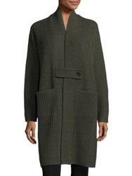 Zero Maria Cornejo Lia Tab Front Cashmere And Wool Knit Coat Forest
