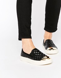 New Look Quilted Slip On Trainers With Toe Cap Black