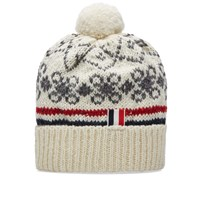 Thom Browne Fair Isle Pom Pom Hat White
