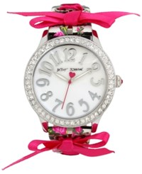 Betsey Johnson Women's Black And White Striped Faux Leather Floral Print And Ribbon Strap Watch 42Mm Bj00131 77 Silver