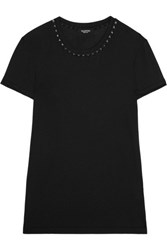 Valentino Embellished Cotton Jersey T Shirt Black