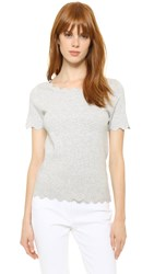 Milly Scallop Ballet Pullover Heather Grey