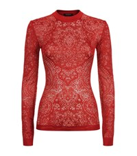Balmain Lace Knit Long Sleeve Top Female Red