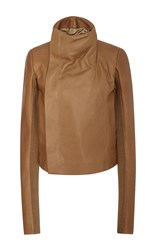 Rick Owens High Neck Biker Jacket Tan