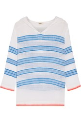 Lemlem Tinish Striped Cotton Blend Gauze Hooded Top Blue