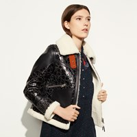 Coach Crackled Shearling Aviator Jacket Brown