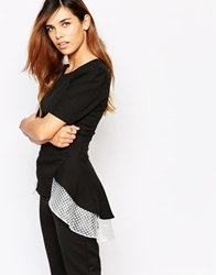 Arrogant Cat Grid Mesh Layer Peplum Top Black
