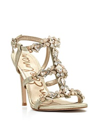 Sam Edelman Selena Jeweled Leather Open Toe Sandals Light Gold