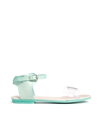 Miista Cristina Clear Speckle Flat Sandals Green