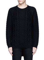 Ports 1961 Cable Knit Wool Sweater Black