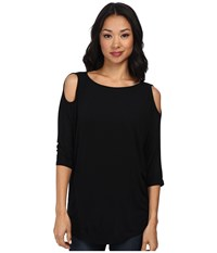 Michael Stars Lycra Jersey 3 4 Sleeve Cold Shoulder Tunic Black Women's Long Sleeve Pullover