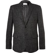 Saint Laurent Grey Slim Fit Prince Of Wales Checked Wool Blend Tweed Blazer Gray