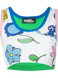 Jeremy Scott Floral Print Cropped Sleeveless Tank Top Multicolour