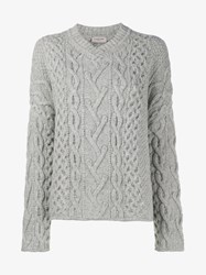 Lanvin Cable Knit Wool Sweater Grey