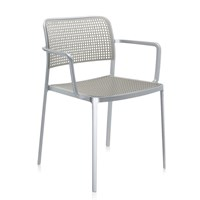 Kartell Audrey Shiny Armchair Aluminium Light Grey